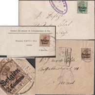 Belgique 1916, Occupation Allemande. COB 1, 11 Et 12, Sur 3 Bandes-journal. 2 Avec Censure, Oblitération Cureghem RRR - [OC1/25] Gen.reg.