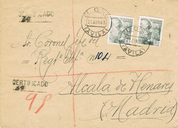 39613. Carta Certificada EL OSO (Avila) 1943 A Alcala De Henares, Regimiento Infanteria - 1931-50 Briefe U. Dokumente