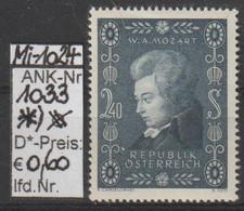"""1956 - ÖSTERREICH - SM """"200. Geburtstag V. W.A. Mozart""""  2,40 S Schwarzblau - * Ungebraucht M. Falzspur - S.Scan (1033*) - 1945-60 Neufs"""