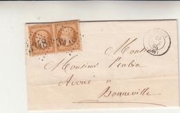Thones To Bonneville, Cent. 10+10 Bistro Annullo 3948 + Thones 1863 Cover Con Contenuto - 1863-1870 Napoléon III Lauré