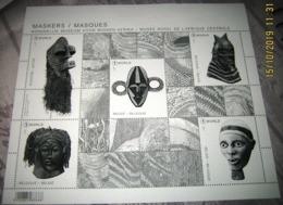 Zwart/Wit - Noir Et Blanc- Black & White Sheet/  Blok 258  MASKERS Uit Tervuren- Musée Royal De L'Afrique Central - Hojas Blanco & Negro