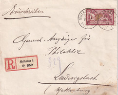 ALSACE-LORRAINE 1920  LETTRE RECOMMANDEE MULHOUSE AVEC CACHET ARRIVEE LUDWIGSLUST - Alsace Lorraine