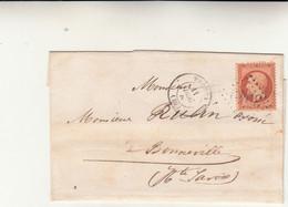 Thonon To Bonneville Cover Affrancata Con C.40 Arancio + Annullo 3949  - Anno 1863 - 1863-1870 Napoléon III Lauré
