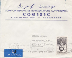 MAROCCO - CASABLANCA  - BUSTA COMPTOR GENERAL DE REPRESENTATION COMMERCIALES - VIAGGIATA PER MILANO - ITALY - Maroc (1956-...)