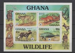 (SS027) GHANA 1977 (WWF. Wildlife). Souvenir Sheet. Mi ## 706-709 (Block # 71). MNH** - Ghana (1957-...)