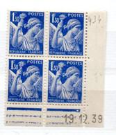 FRANCE N° 434 1F50 BLEU TYPE IRIS COIN DATE DU 19.12.1939 NEUF SANS CHARNIERE - 1930-1939