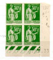 FRANCE N° 280 30C VERT TYPE PAIX COIN DATE DU 19. 1933 NEUF SANS CHARNIERE - 1930-1939