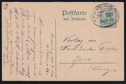 Postkarte MiNr. P 92 F (Frageteil) Wz. 3, Gestempelt Mit BAHNPOSTSTEMPEL KONITZ (WPR)-NAKEL (NETZE) 26/10 12 - Entiers Postaux