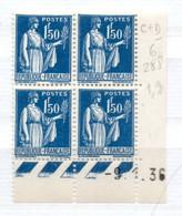 FRANCE N° 288 1F50 BLEU FONCE TYPE  PAIX COIN DATE DU 9.1.1936 NEUF SANS CHARNIERE - 1930-1939