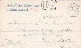 2 LAC Adm Des Douanes Le Directeur Bourg-en-Bresse 1869 Et 1873 Port Dû Taxe Double Trait 30 Et 40 Pr Cirey Et St Claude - Postage Due Covers