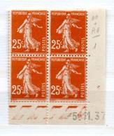 FRANCE N° 235 20C JAUNE BRUN TYPE SEMEUSE CAMEE COIN DATE DU 5.11.1937 NEUF SANS CHARNIERE - 1930-1939