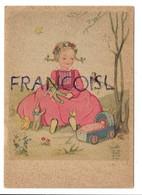 Petite Fille Assise Dans L'herbe. Poupée, Landau, Oursons, Oiseau, Papillon. Signée SM 5115 - Scene & Paesaggi