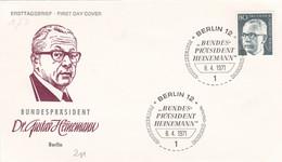 Berlin FDC 1971 -Nr.  367 - Dauerserie Heinemann - FDC: Enveloppes