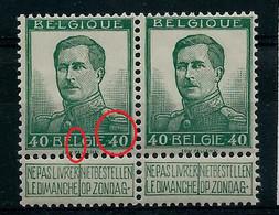 Paire Du N° 121 Pellens (** )  V1 ( L Fourchu) + 2 Points Avant Le 40 Avec Normale à Droite - Plaatfouten (Catalogus OCB)