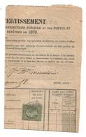 - RHONE - LYON - Cachet à Date Type 15  S/TP Napoleon III - N°19 - 1870 - 1862 Napoléon III