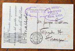 CARTEGGIO REALE + R.POSTE MINISTERO DELLA REAL CASA Annulli SU CARTOLINA MINISTRO MATTIOLI PER FIRENZE 18/6/12 - Storia Postale