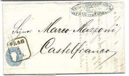 Austria Prag To Castelfranco Beautiful Leather Factory Invoice Inside 1862 - Storia Postale