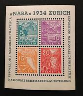 Suisse - YT Bloc 1 Naba  - Neuf * Gomme Altérée (charnière Enlevée Dans Un Coin)  Et Pli (hors Timbres) - Cote 400E - Ungebraucht