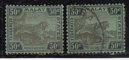 50c Used Shades Varities 1922, Federated Malay States, Wmk Multi Script, Tiger Animal,  Malaya / Malaysia - Federated Malay States