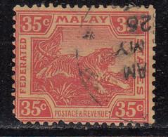 35c Used 1904, Federated Malay States, Wmk Multi Crown, Tiger Animal, (Cond., Perf Short,) Malaya / Malaysia - Federated Malay States