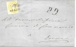 Austria Letter To Parma Via Milano Michel 18 , 75 Euros Sent 15.7.1862 - Brieven En Documenten