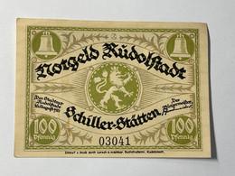 Allemagne Notgeld Rudolstadt 100 Pfennig - Collections