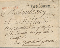 """"""" CHARGÉ """" EN ROUGE + """" 10 NARBONNE LETTRE FRANCHISE ARMÉE PYRÉNÉES REPRESENTANT DU PEUPLE - 1801-1848: Precursors XIX"""