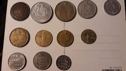 MONACO - LOT De 13 PIECES De MONNAIE ( Entre Années 1837  Et 1982 )dont 5 Centimes 1837 - 1922-1949 Louis II