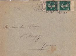 23109# SEMEUSE N°137 PAIRE DE CARNET ENVELOPPE Obl AUXERRE YONNE 1913 Pour AUGY - Usage Courant