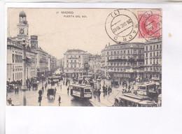 CPA MADRID, PUERTA DEL SOL, En 1907!  (voir Timbre) - Madrid