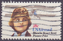 Timbre PA Oblitéré N° 93(Yvert) États-Unis 1980 - Aviation, Blanche Stuart Scott - 3a. 1961-… Gebraucht