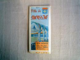 Moissac Plan Carte Bas-Quercy Languedoc Ancienne Avant 1985. - Mapas Geográficas