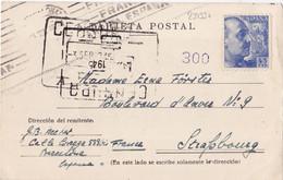 23133# ESPAGNE FRANCO CARTE POSTALE CENSURE CENSURA 1945 Pour STRASBOURG BAS RHIN ESPANA - 1931-50 Briefe U. Dokumente
