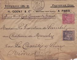 23136# SAGE LETTRE RECOMMANDE VALEUR DECLAREE 850 Fr Obl PARIS 1901 LA CHARITE SUR LOIRE NIEVRE - 1877-1920: Periodo Semi Moderno