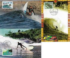 Australia 2013 2 Postal Stationery Used As Maximum Card Sport Surf Surfing Summer Sea + Brazil 2000 - Sin Clasificación