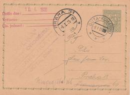 Czechoslovakia, 1935, Card Sent 8.1.1935 Cancellation Gúta - Komárno, Arrival Praha 31 9.1.1935 - Covers & Documents