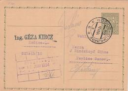 Czechoslovakia, 1934, Card Sent 11.6.1934 By Mail (railway) Train Košice - Bohumín, Mail Train Course 970 - Covers & Documents