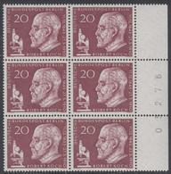 !a! BERLIN 1960 Mi. 191 MNH Vert.BLOCK(6) W/ Right Margins & Sheet Numbers -Robert Koch - Ongebruikt