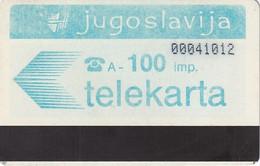 YUGOSLAVIA(Autelca) - Telecom Logo 100 Units, CN : 8 Digits(0 With Barred), Tirage %100000, Used - Yougoslavie