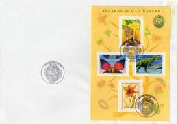 Enveloppe 4 Timbres Oblitérés17.06.2000 PARIS. Regards Sur La Nature Bloc-feuillet. Allosaure, Zèbre, Papillon, Fleur - Covers & Documents