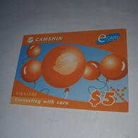 Cambodia-(KH-CAS-REF-0001)-E.card-ballons-(34)-(002-255-881-8074)-(31/12/2005)-($5)-used Card+1card Prepiad - Cambodge