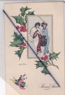 Bonne Année -Femmes élégantes ,beau Chien , Bouteilles De Champagne... ( Signature X.Sager) - New Year