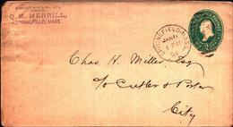 36254) Biglietto Postale Da 2 C. Franklin Verde Degli Stati Uniti-bollo Springfield Mass.. - Briefe U. Dokumente