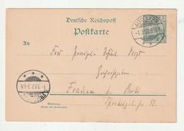 """Deutsches Reich - 1902 - Postkarte """"Germania"""" Stegstempel """"ALTDOBERN"""" (1686) - Entiers Postaux"""