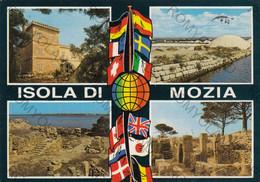 CARTOLINA ISOLA DI MOZIA,MARSALA,SICILIA,VILLA WHITAKER-SALINE DELLO STAGNONE DI MOZIA-PORTA NORD-VIAGGIATA 1985 - Marsala