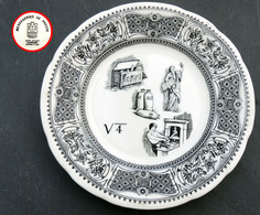 Ancienne Assiette REBUS Publicitaire Des MESSAGERIES DE PRESSE Porcelaine GIEN - Plates