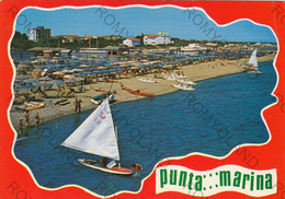 CARTOLINA  PUNTA MARINA,RAVENNA,EMILIA ROMAGNA,SPIAGGIA,BAGNI,BARCHE A VELA,VACANZA,ESTATE,VIAGGIATA 1976 - Ravenna