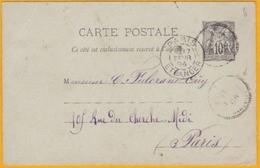 1894 - Levant France -  Entier CP Type Sage 10 C De TRIPOLI De BARBARIE, Bureau Français,  Vers Paris, France - Storia Postale