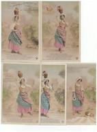 Série Complète De 5 Cartes Postales La Laitière Et Le Pot Au Lait Fable De Jean La Fontaine Perrette Cpa Photo Sazerac - Contes, Fables & Légendes