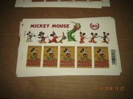 Mickey Mouse** 3784** Feuillet / Sheet 5 Valeurs / Stamps - Walt Disney - Belgium 2008 - Belgie Plaatnummer 2 - Panes